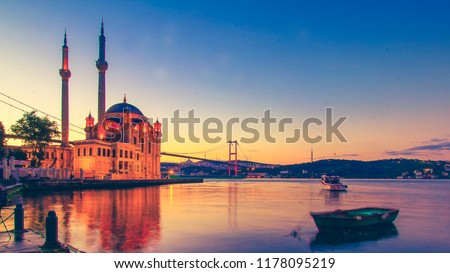 Ortakoy Istanbul panoramic landscape beautiful sunrise with clouds Ortakoy Mosque and Bosphorus Bridge, Istanbul Turkey. Best touristic destination of Istanbul. Romantic view of Istanbul city. Puzzle