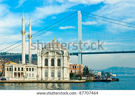 Ortakoy mosque and Bosphorus bridge, Istanbul, Turkey.