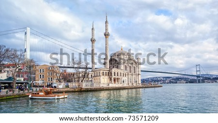 Ortakoy mosque and Bosporus bridge on European side in Istanbul, Turkey