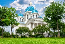 Orthodox Cathedral in Saint Petersburg. Churches Russia. Trinity Izmailovsky Cathedral on summer day. Russian Orthodox Cathedral in Saint Petersburg. Orthodox сhurch with blue domes. Sights of Russia