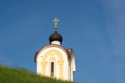 Orthodox chapel on a Sunny summer morning. Moscow region. Russia.