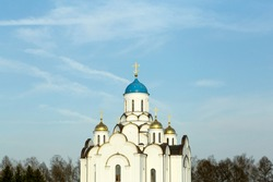 Orthodox church in Russia against the blue sky. Russian Christianity and Orthodoxy in architecture and culture.