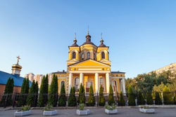 Orthodox church in the Obolonsky district of Kiev against the background of blue sky in the early morning. The concept of Easter, other religious holidays and various denominations of the Orthodox.