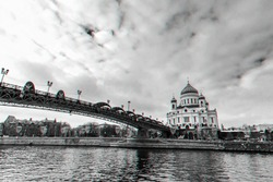 Orthodox Church of Christ the Saviour in Moscow Russia on a winter day under a cloudy sky. Black and white with 3D glitch virtual reality effect