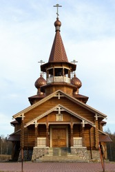 Orthodox Church of Royal passion-Bearers in Sologubovka, Leningrad region, Russia.  Religious wooden temple.