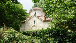 Orthodox church on the territory of the former residence of the Romanian Queen Marie. Architectural parks complex