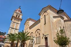 Orthodox church with belfry in Zakynthos town, Greece