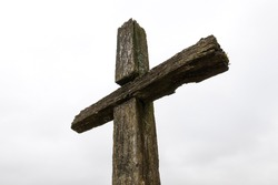 Orthodox culture of exhibiting a wooden cross on the street near the road or village, part of the Christian cross