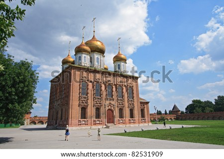 Orthodox Dormition Cathedral (XVI century) in the Tula Kremlin, Russia
