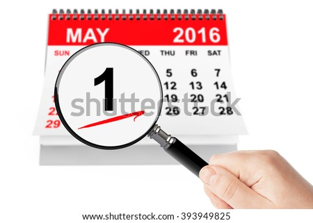 Orthodox Easter Concept. 1 May 2016 calendar with magnifier on a white background #393949825