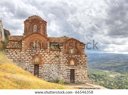 Orthodox Holy trinity Byzantine style church on castle hill above the town of Berat