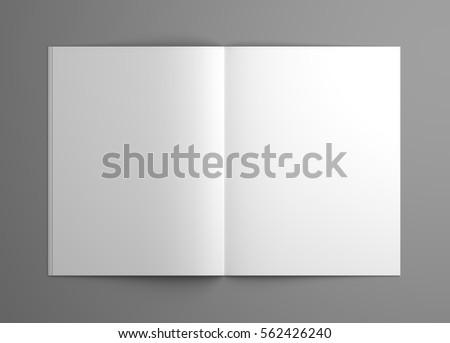 Orthographic blank 3D illustration opened magazine mock-up.