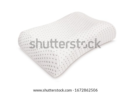 Orthopedic Pillow with a Memory Effect. Medical treatment pillow for sleep. Comfort Memory Pillow under the head with a recess under the shoulder isolated on white background. Sleeping Support Pillow