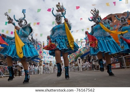ORURO, BOLIVIA - MARCH 5: Dancers at Oruro Carnival in Bolivia, declared UNESCO Cultural World Heritage on March 5, 2011 in Oruro, Bolivia