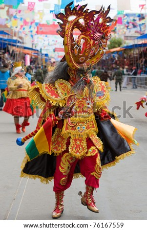ORURO, BOLIVIA - MARCH 5: Devil Dancer at Oruro Carnival in Bolivia, declared UNESCO Cultural World Heritage on March 5, 2011 in Oruro, Bolivia - stock photo