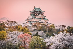 Osaka Castle at sunset, beautiful Japanese temple cherry blossom trees, sakura season, autumn Japan.
