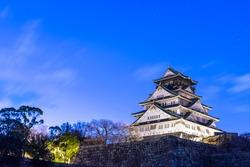 Osaka Castle in sunrise, Osaka, Japan.
