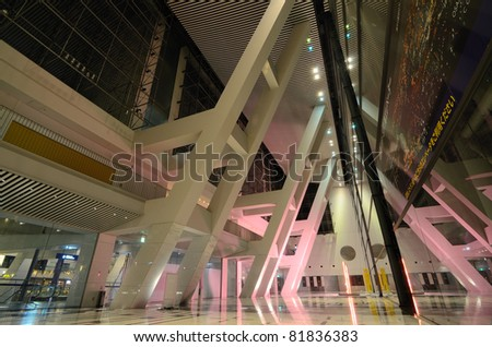 OSAKA, JAPAN - JULY 8: Interior of Osaka Prefectural Government Sakishima Building, Japan July 8, 2011. The building is tallest in Osaka and 2nd tallest in Japan. - stock photo