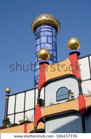 OSAKA, JAPAN - MARCH 28: The public facility of the Osaka City Office possession, built this incineration plant by plan of Hundertwasser; March 28, 2014 in Osaka, Japan.