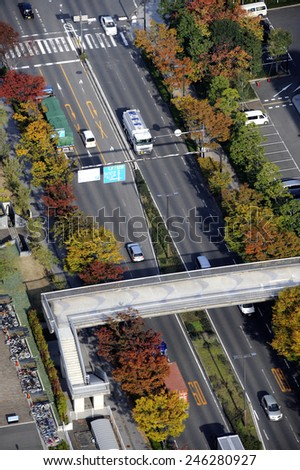 OSAKA, JAPAN-NOVEMBER 11, 2014; Birdview of street in Rinku-Town with cars driving on the left. November 11, 2014,Osaka, Japan
