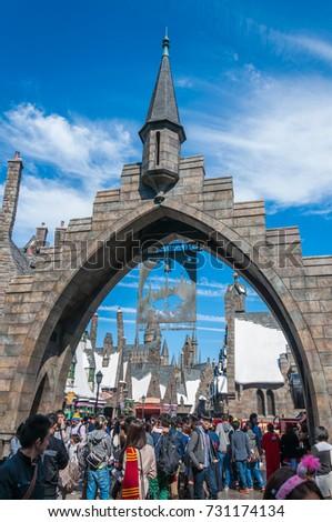 OSAKA, JAPAN - OCTOBER 26, 2015: Hogsmeade, The Wizarding World of Harry Potter in Universal Studios Japan. Universal Studios Japan, located in Osaka, is one of four Universal Studios theme parks.