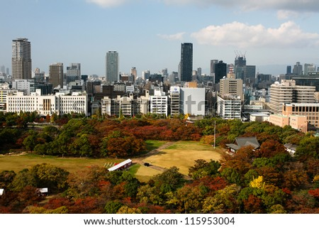 OSAKA - NOV 20: City view from Osaka Castle on Nov 20, 2011 in Kansai, Japan.  Located at the mouth of the Yodo River, Osaka is the 3rd largest city by population after Tokyo and Yokohama.