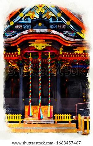 Osaki Hachimangu Shrine is Shinto buddhist Japaneses shrine in Sendai city, Miyagi, Japan. with artistic technical effect - water color painting