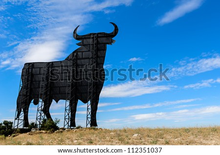 Osborne bull - The Osborne bull is a 14-metre-high black silhouetted image of a bull in semi-profile which can be seen at spanish roadsides, and is regarded as the unofficial national symbol of Spain.