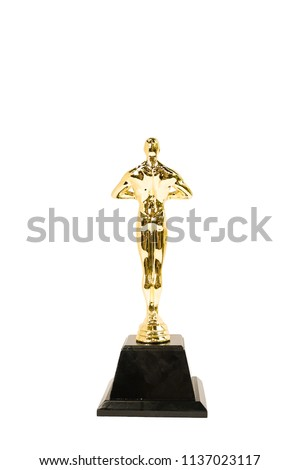 Oscar Golden award or trophy isolated on a white background. Success and victory concept. (back side)