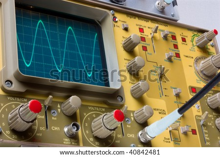 oscilloscope - instrument for testing electronics components in electronic services laboratory