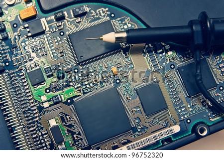 Oscilloscope Probe on Electronic circuit