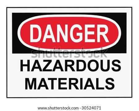 OSHA danger hazardous materials warning sign isolated on white