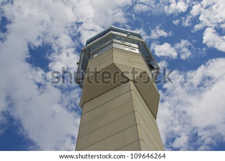 OSHKOSH, WI - JULY 27: A view from the base of the Air traffic control tower against the beautiful blue and cloud sky at the 2012 AirVenture at EAA on July 27, 2012 in Oshkosh, Wisconsin.