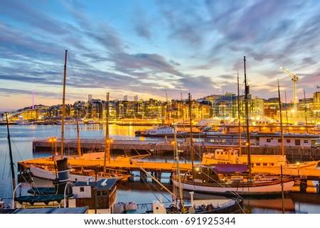 Oslo harbor at night in Oslo city, Norway.