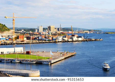 Oslo harbor. View from Oslo opera house. Norway - stock photo