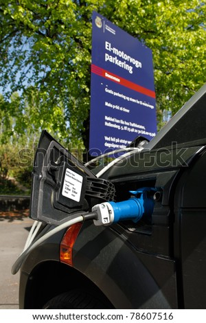 Charging  Battery    on Stock Photo   Oslo  May 14   Electric Car Charging The Battery