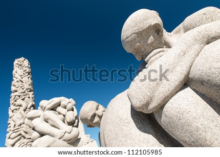 OSLO, NORWAY - JUNE 21: Vigeland Sculpture Park covers 80 acres (320,000 m2) and features 212 bronze and granite sculptures all designed by Gustav Vigeland. June 21, 2012 - stock photo