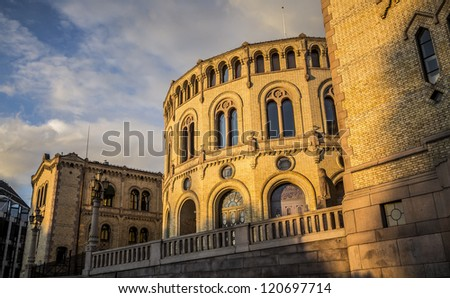 Oslo Parliament Building at Sunset