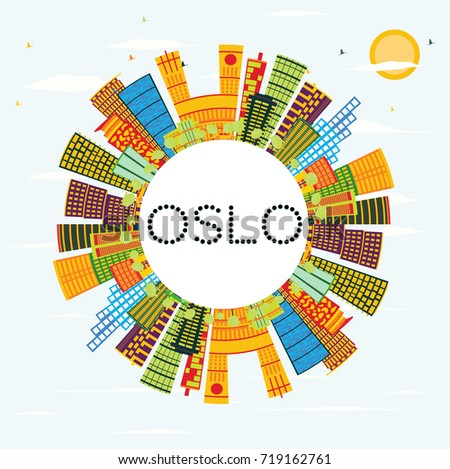 Oslo Skyline with Color Buildings, Blue Sky and Copy Space. Business Travel and Tourism Concept with Modern Architecture. Image for Presentation Banner Placard and Web Site.