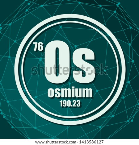 Osmium chemical element. Sign with atomic number and atomic weight. Chemical element of periodic table. Molecule And Communication Background. Connected lines with dots.