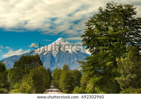 Shutterstock Osorno Volcano and Road at Reserva Nacional LLanquihue, Chile