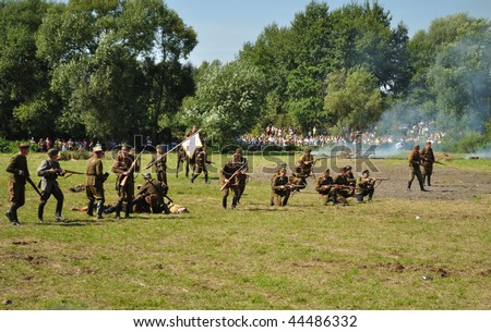 OSSOW - AUGUST 16: Participants of historical Battle of Warsaw (1920), reenact the Polish soldiers on August 16, 2009 in Ossow, Poland.