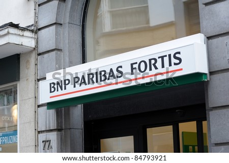 OSTEND, BELGIUM - JULY 16: BNP Paribas Fortis bank sign above entrance in Ostend, Belgium. BNP Paribas Fortis is the no. 1 bank in Belgium for both Retail  and Corporate Banking. - stock photo