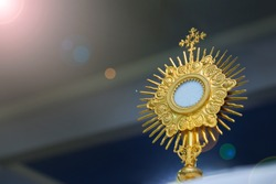 Ostensory for worship at a Catholic church ceremony - Adoration to the Blessed Sacrament - Catholic Church - Eucharistic Holy Hour