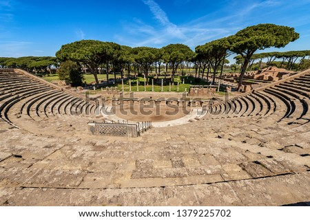 Ostia Antica - The Roman Theatre. Rome Italy, UNESCO world heritage site. Roman colony founded in the 7th century BC #1379225702