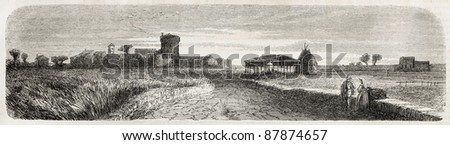 Ostia old landscape, Rome surroundings. Created by Anastasi, published on L'Illustration, Journal Universel, Paris, 1860