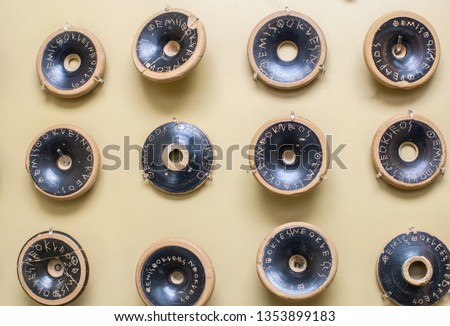 Ostracism of Themistocles 482 BC at the museum of ancient agora in Athens, Greece,. Ancient ceramics used for democratic voting in Athens were recovered from a well near Acropolis.