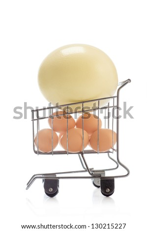 Ostrich egg and chicken eggs in basket for foodstuffs on white background