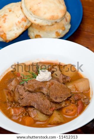 Ostrich pot roast with carrots, potatoes, rosemary and horseradish ...