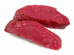 Ostrich Steaks on white Background - Isolated